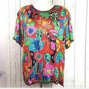 Vintage Beaded Top Colorful Silk